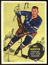 1961-62 TOPPS HOCKEY #55 ANDY HEBENTON EX+ N Y RANGERS CARD FREE SHIP TO USA