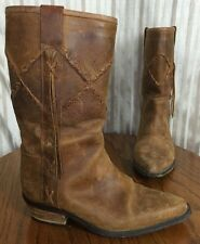 Vintage GUESS By Georges Marciano Brown Leather Cowboy Boots Size 7.5 B