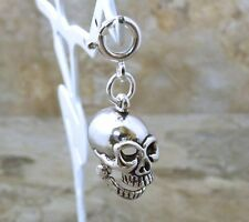 Sterling Silver SKULL Charm fits European and Link Charm Bracelets - 0549