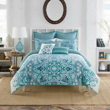 (2) Anthology Kaya Euro Pillow Sham Teal Blue Floral New