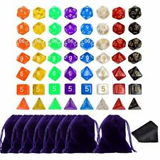 8 Sets 56 Polyhedral Dice For Dungeons & Dragons DND RPG MTG Games With Bags
