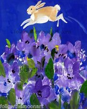 Jumping Jack Rabbit Bunny Purple Flowers Country Quality Print