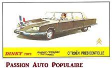 DINKY TOYS 1435 reproduction copie panneau magasin CITROEN DS PRESIDENTIELLE