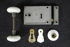 Antique Vintage DM & Co 1800's Lock Set Horizontal Rim Lock Porcelain Knobs  PH6