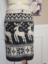 FREE PEOPLE Stretch French Terry Wool Alpaca Sweater Nordic Reindeer Skirt S 2