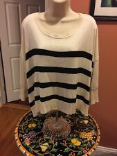 MINK PINK Ivory & Black Striped 3/4 Sleeve Poly Blend Sweater S