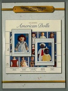 1997 CLASSIC AMERICAN DOLLS STAMPS USPS PACKAGE OF (18) POSTCARDS