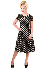 Women's White Polka Dots Print Short Sleeve Vintage Rockabilly Wonderwall Dress
