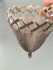Antique Silver Sterling Mesh Purse Signed Hand Bag