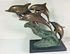 Brass Dolphin Statue Sculpture Marine Mammal Ocean Sea Creatures Wave Crest