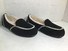 UGG Womens Size 9 EU 40 Hailey Black Suede Lined Moccasin Slippers ZD-567
