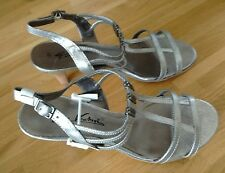 Ladies Silver Sandals Styled by Gino Ventori for Wortmann -  Size 7 UK (40 EU)