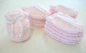 Small Hand-Crocheted Gift Bags Party Favors Baby Shower Birthday Girl Pink White