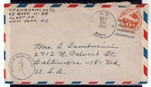 USA = WW2 1943 U.S. NAVY 6c Air Mail cover. Naval Censor cachet. . (Jy20ql)