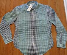 Mens Lacoste Ombre Checked Button Up Shirt Blue/Bermuda 40 Medium - Slim $135