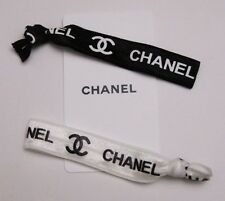 VIP CHANEL WRIST BAND / HAIR TIE BLACK & WHITE SET OF 2