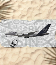 Lufthansa Airbus A380 with Airport Codes - Beach Towel