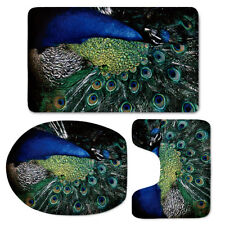Peacock Gorgeous Bathroom Mat Set Flannel Toilet Seat Lid Cover Soft Green