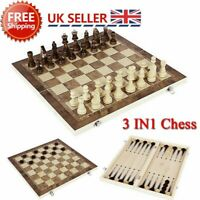 3in1 FOLDING WOODEN CHESS SET Board Game Checkers Backgammon Draughts Gift