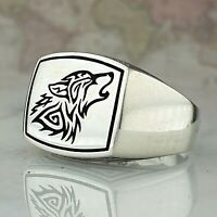 Wolf Solid 925 Sterling Silver Men Ring HandMade Signet Ottoman Style