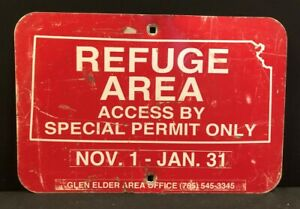 Kansas Game & Fish Refuge Area Access Metal Sign Vintage Hunting Outdoors