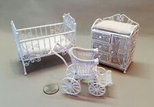 Dollhouse Furniture Lot - 3 piece White Metal Wire Nursery (E-1)