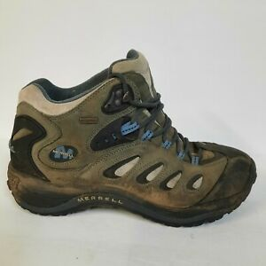 Merrell Reflex Shale Mens 11 Mid Boots Shoes Grey Blue Hiking Trail Performance