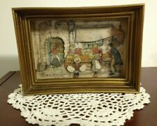 Anton Pieck signed 3-D diorama shadow box 8 X 6 decoupage Victorian st.market