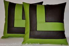 """2 Brown & verde mela cuscini per in finta pelle stile di blocco 18"""" & Interno Riempitivo PADS"""
