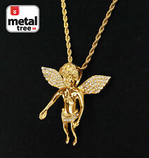 """Men's Stainless Steel Micro Mini Baby Angel With 24"""" S.Steel Rope Chain (3001G)"""