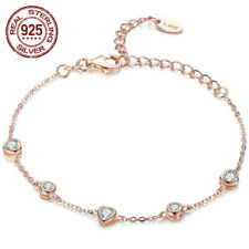 CUBIC ZIRCONIA ANKLE CHAIN 925 ROSE STERLING SILVER HEART BRACELET 8.5""