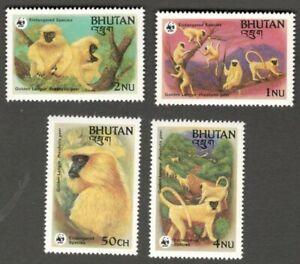 AOP Bhutan #413-16 1984 `Monkeys MNH