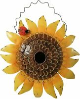 Metal Sunflower Bird House for Outside Hanging Decorative Hand-Painted Birdhouse
