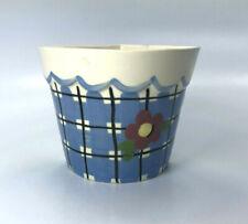 Vintage Cleminsons Blue Checkered Flower Pot Corner Wall Pocket