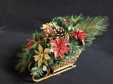 Gold Wicker Sleigh Red Gold Poinsettia Pinecone Christmas Centerpiece Decoration