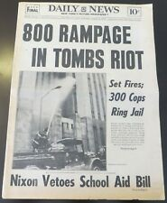 """1970 NY NEWSPAPER - RIOT AT """"THE TOMBS""""  NYC  CORRECTION OFFICERS HELD HOSTAGE"""