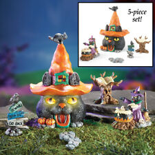 Collections Halloween Decor - Black Cat Fairy Garden House