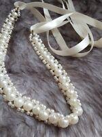 Wedding bridesmaid headband pearls satin ribbon in cream NEW
