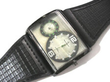 Black Metal Big Case Leather Band 2 Time Zone Men's Watch Item 5377