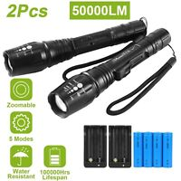 2X T6 LED 50000LM Rechargeable Tactical Military 18650 Flashlight Zoom Torch