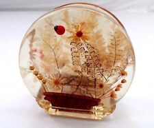 1960s Molded Acrylic Lucite Mail Letter Napkin Holder w/ Basket Flowers Ladybug