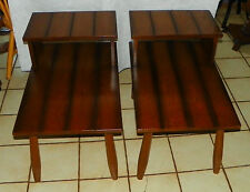 Pair of Mid Century Solid Oak Ranch Style Step End Tables / Side Tables  (T568)