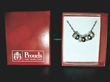Prouds Silver Etched 7 Rings of Luck Chain Necklace