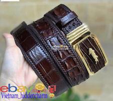 4cm Men's JOINTED Belt - Genuine Crocodile  Skin Leather - Border Knit Handmade