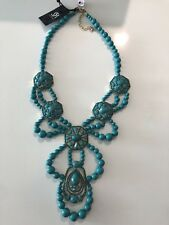$168 NWT SAKS FIFTH AVENUE TURQUOISE COLOR BEADED NECKLACE