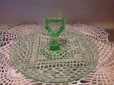 Vintage Green Depression Glass Handled Sandwich Platter, Etched