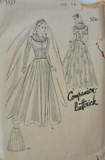 Vintage Butterick Pattern #1437 Miss Size 14 Wedding Gown- missing sleeve piece