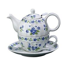 Andrea by Sadek Porcelain Tea for One  Stacked Teapot & Cup  BLUE FORGET ME NOTS
