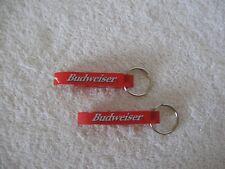 2 Red Metal Budweiser Bottle Opener Key Rings