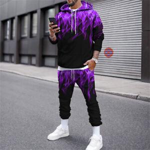 Mens Tracksuit 2 Piece Casual Pant Hoodie Sweatsuit Sweatshirt Sports Set